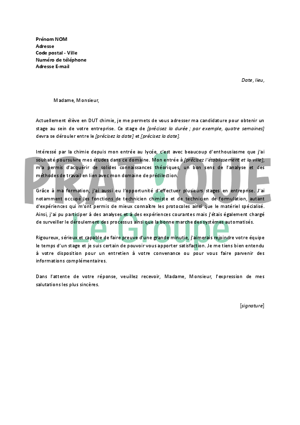 lettre de motivation stage genie civil
