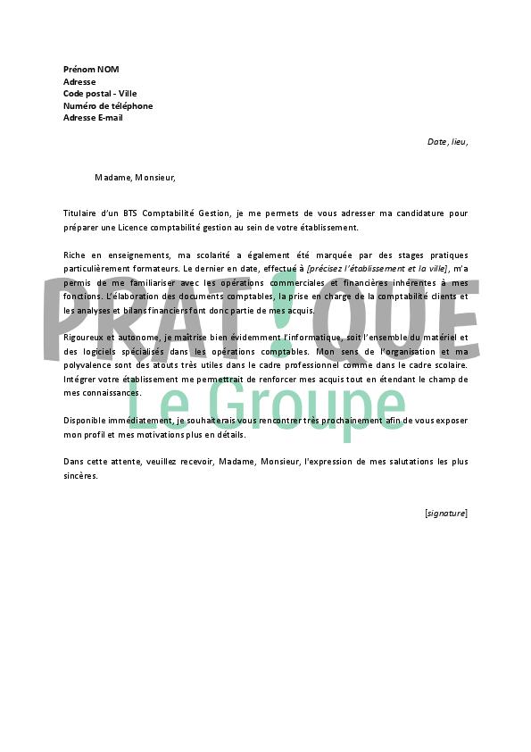 lettre de motivation gestionnaire comptable
