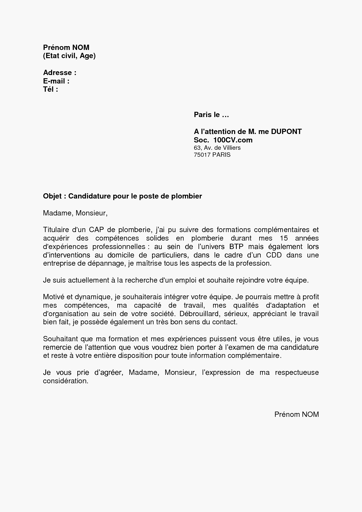 Exemple Lettre De Motivation Preparateur De Commande Sans Experience
