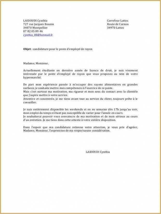lettre de motivation employ u00e9 de rayon bazar