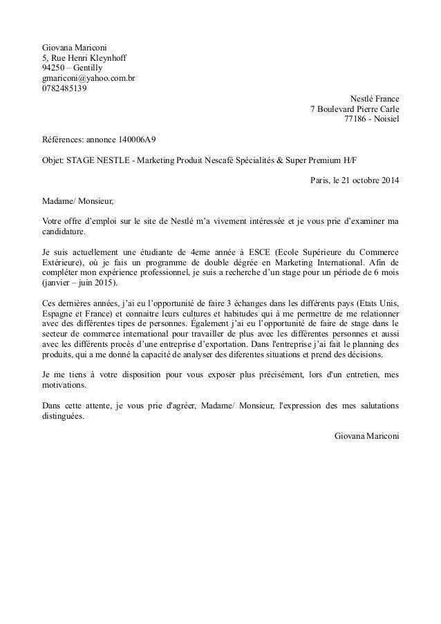lettre de motivation commerce international stage