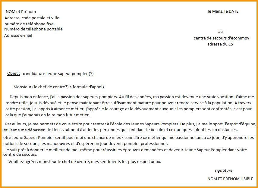 lettre de motivation pour devenire sapeur pompier