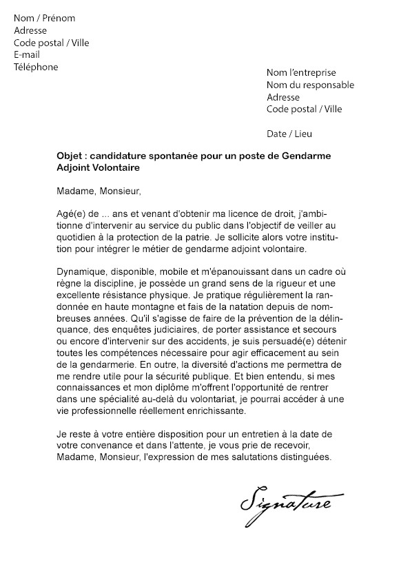 exemple lettre de motivation gendarmerie volontaire