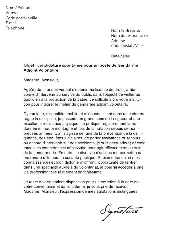 exemple lettre de motivation gendarmerie volontaire