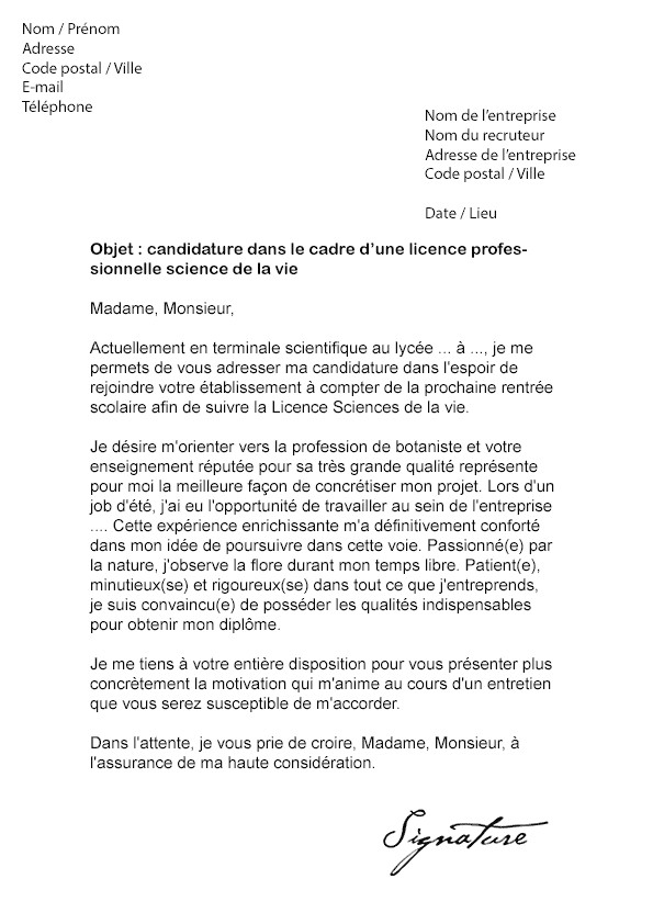 mod u00e8le lettre de motivation r u00e9orientation universitaire
