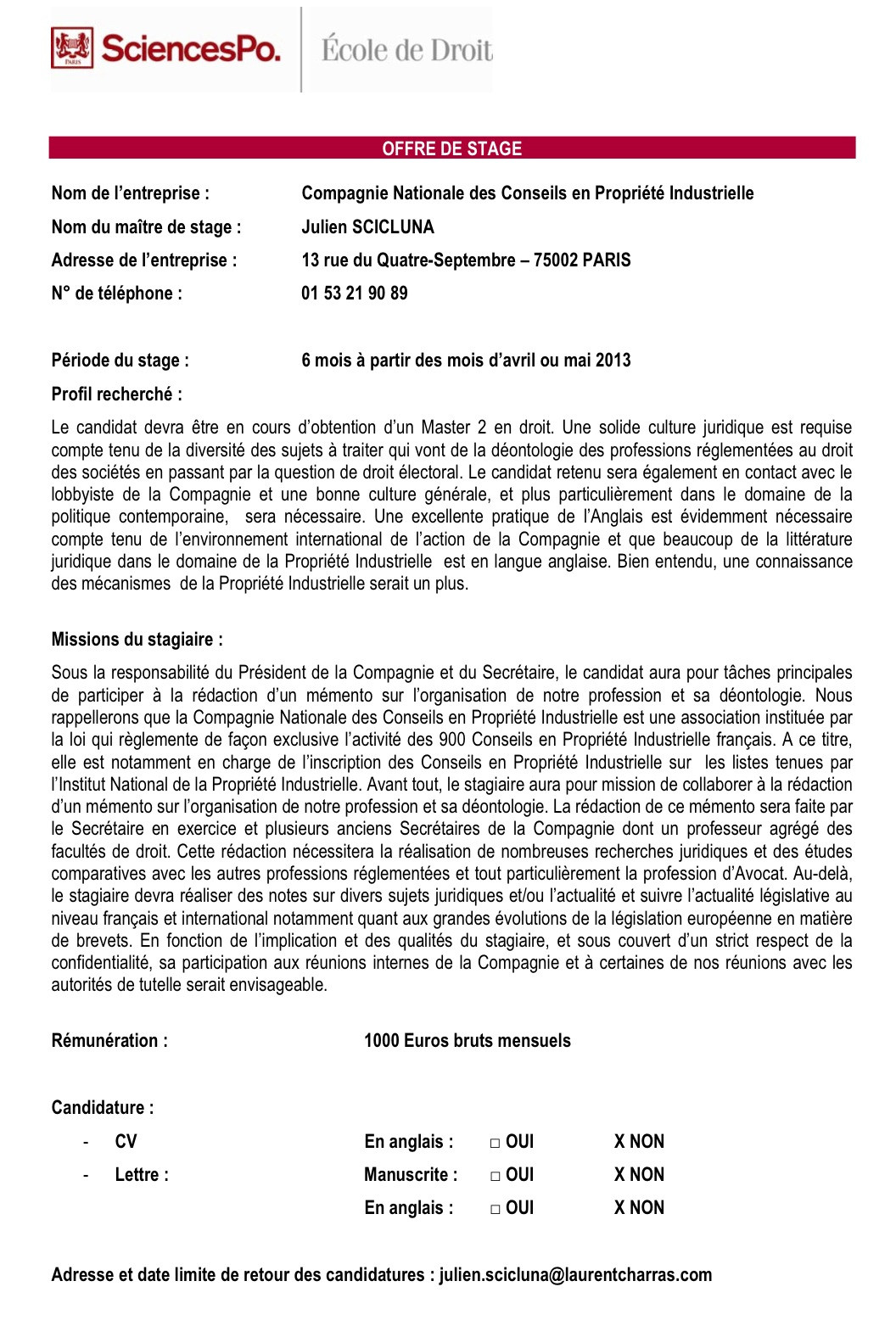 lettre de motivation master 2 neuropsychologie