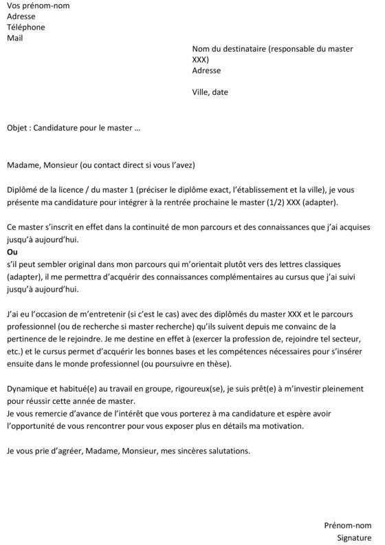 lettre de motivation master science du langage