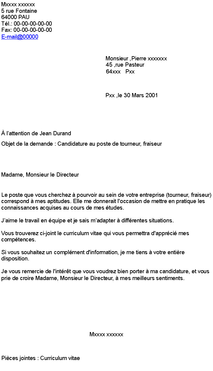 lettre de motivation tourneur fraiseur sans experience