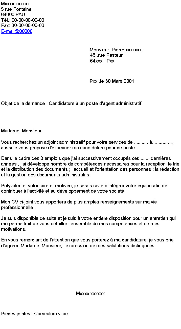 lettre de motivation assistant administratif debutant