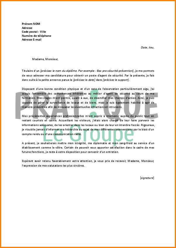 Exemple lettre de motivation sécurité incendie
