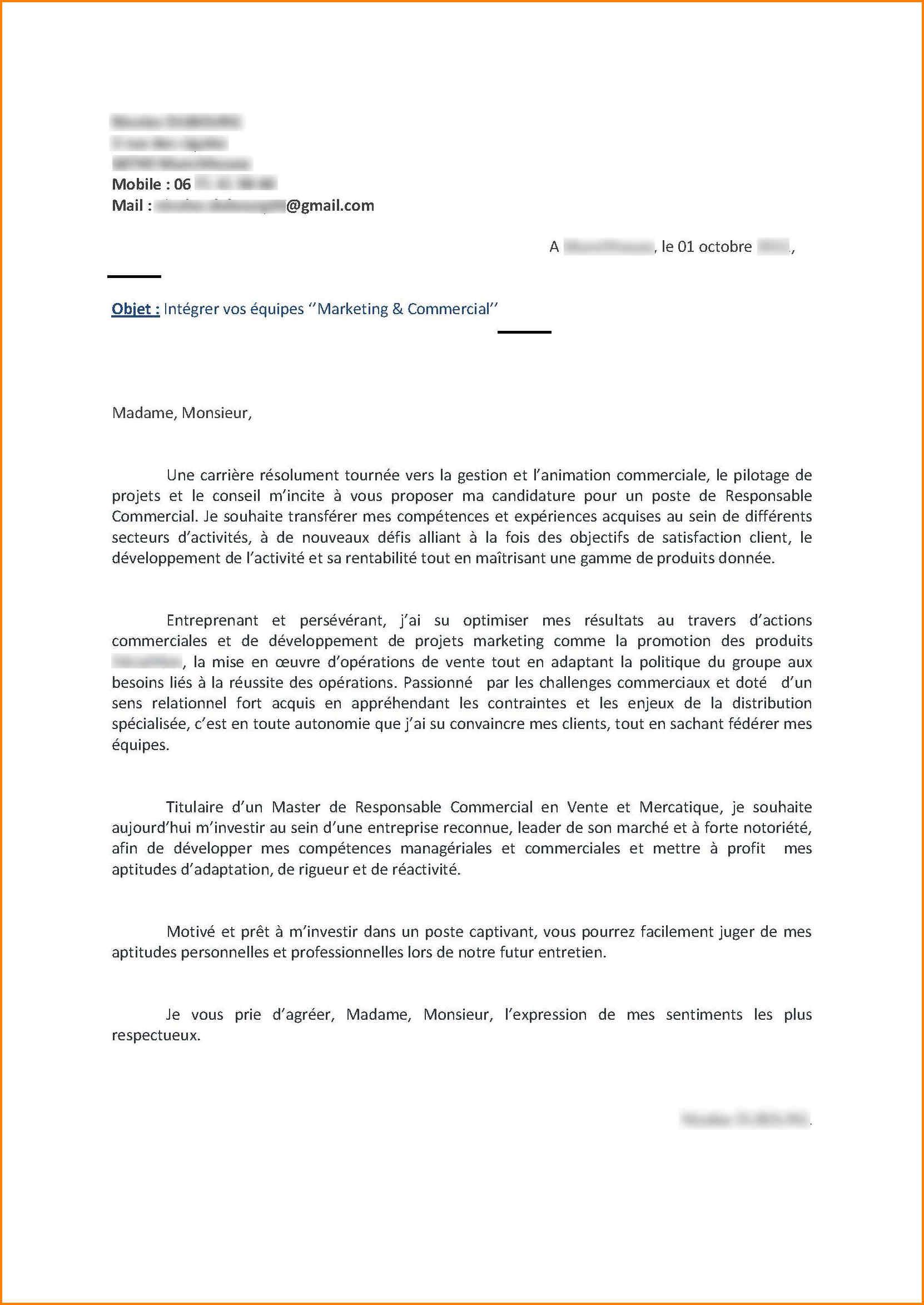 lettre de motivation candidature spontan u00e9e responsable