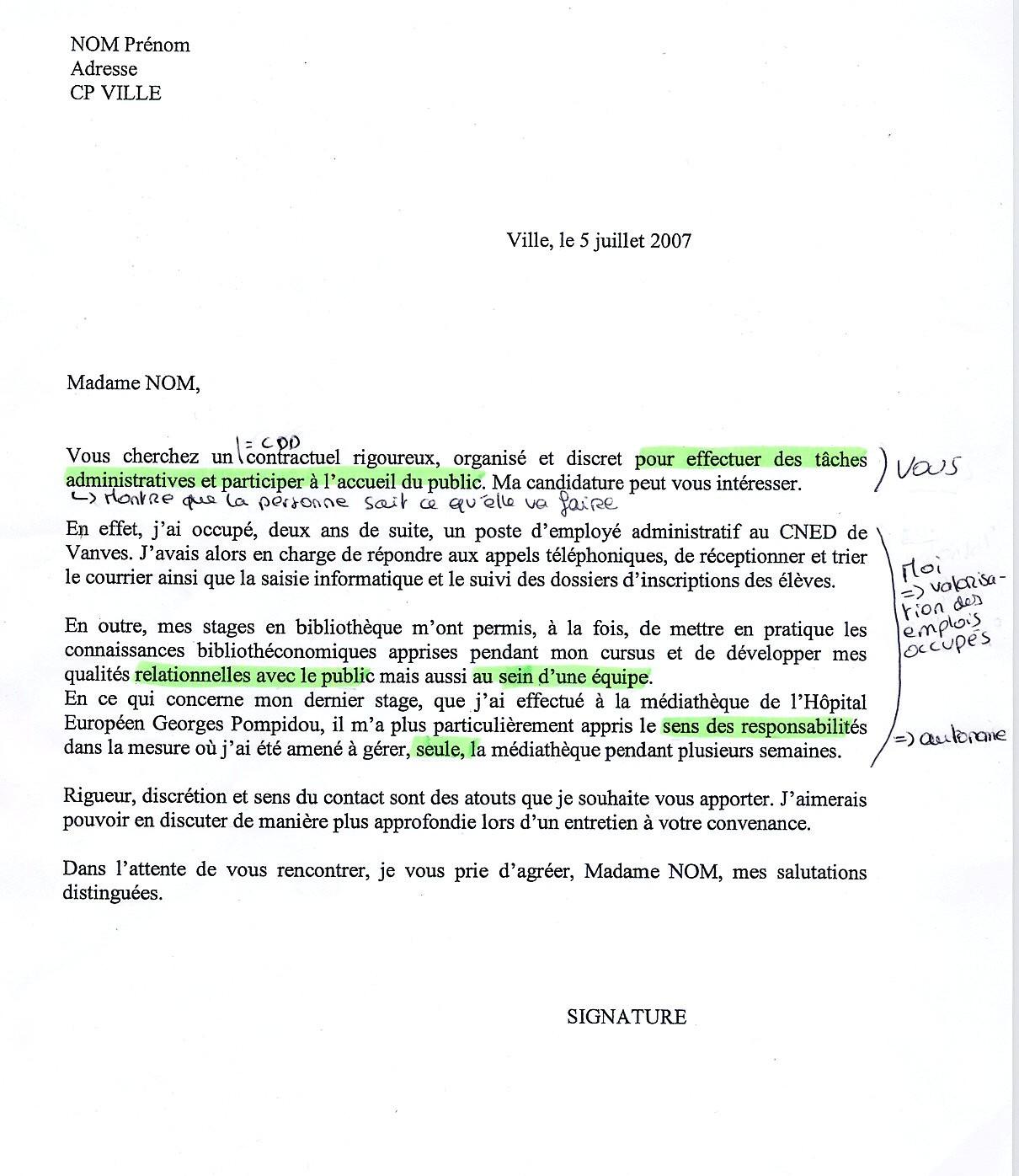 Exemple de lettre de motivation simple pour un emploi - laboite-cv.fr