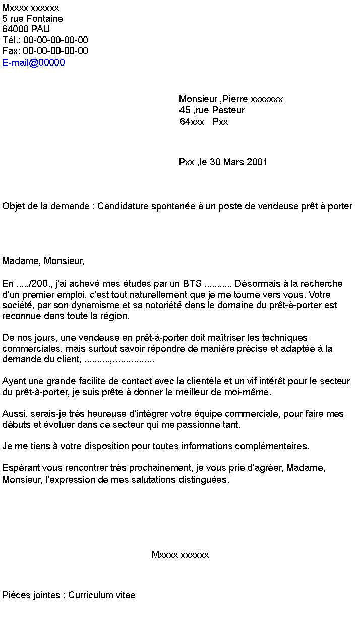 Lettre de motivation spontanee vendeuse en boulangerie - laboite-cv.fr