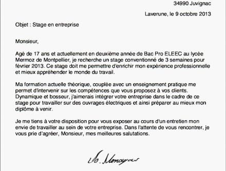 Exemple lettre de motivation stage 3eme prepa pro