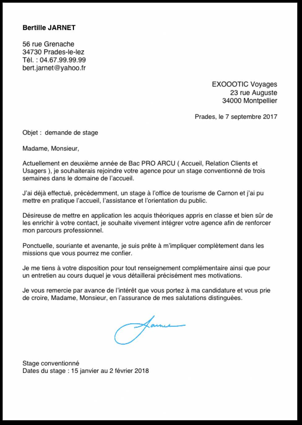 exemple lettre de motivation stage bac pro commerce