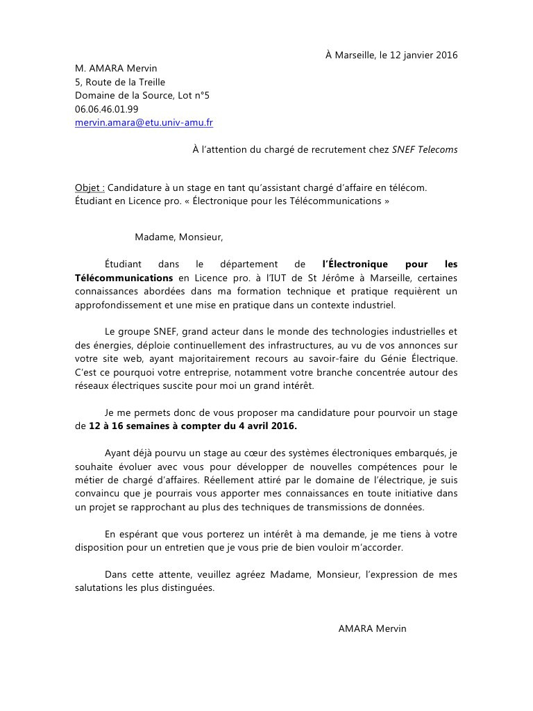 lettre de motivation stage 2nd bac pro electrotechnique