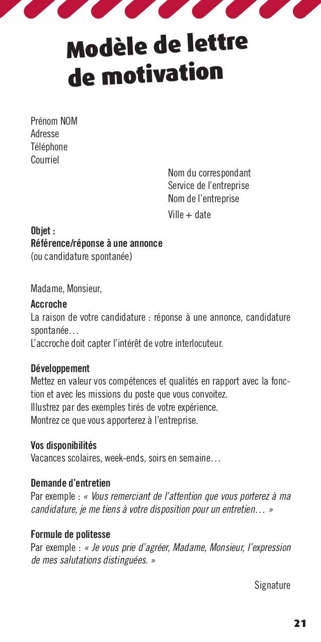 lettre de motivation candidat libre
