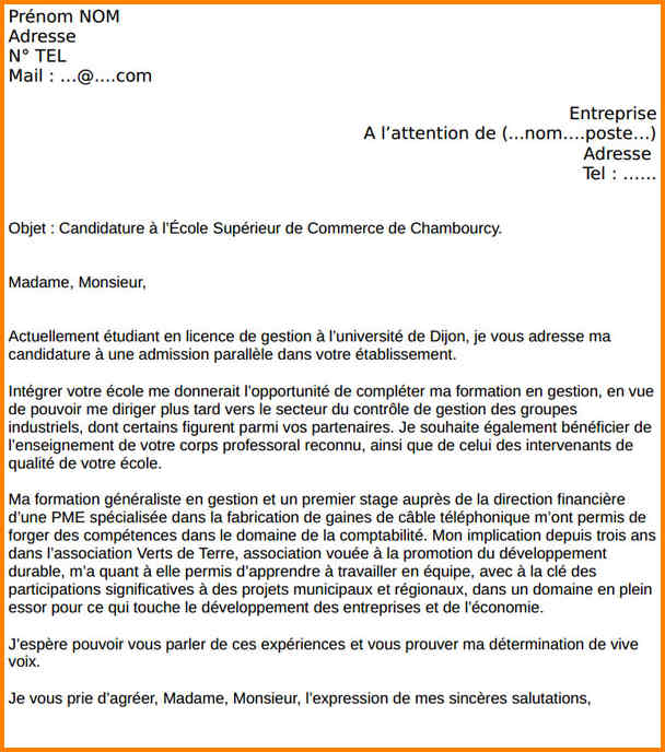 lettre de motivation stage import export