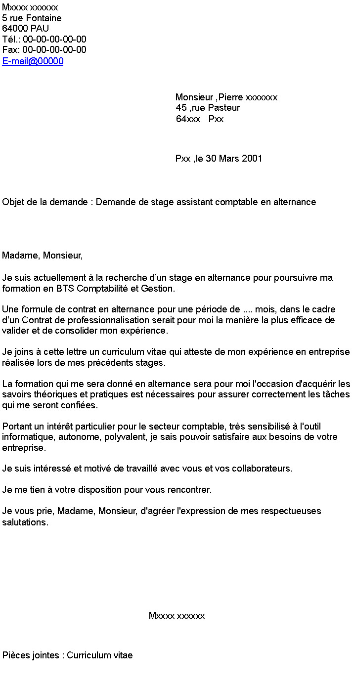 modele lettre de motivation stage assistant comptable