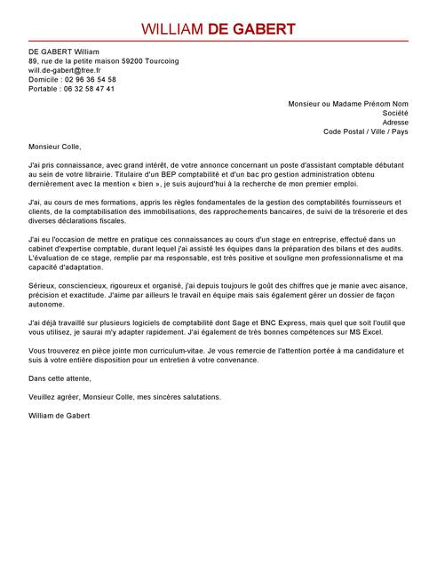 lettre de motivation assistant comptable stage