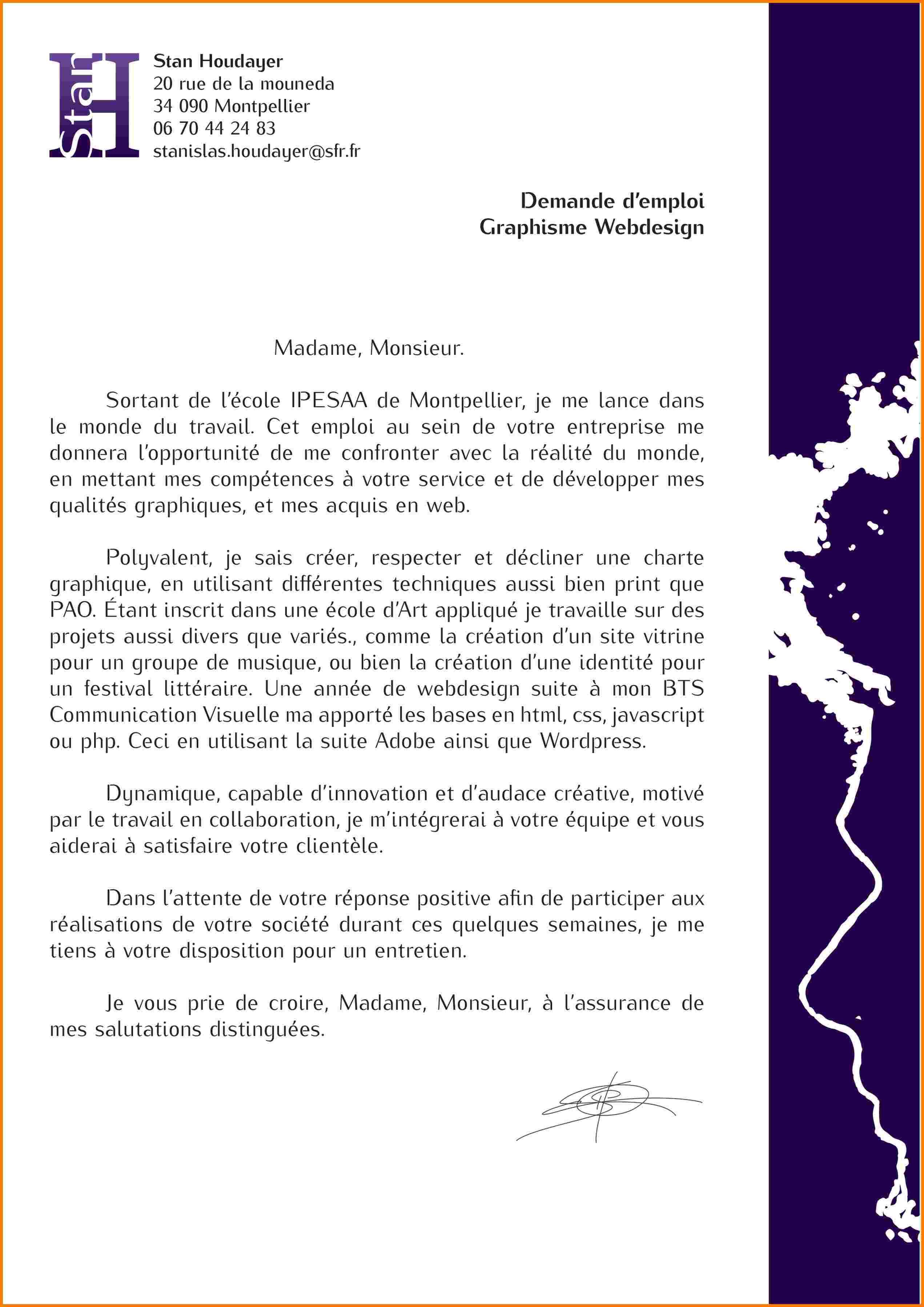 Lettre de motivation ecole de design graphique - laboite-cv.fr