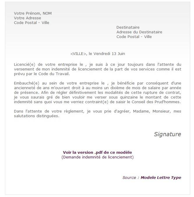 lettre de motivation apres licenciement eco