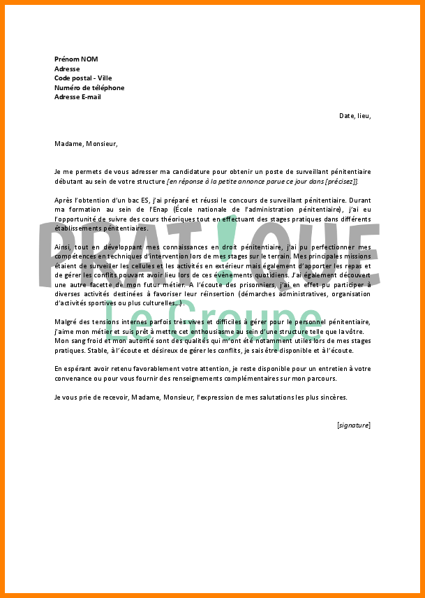 exemple lettre de motivation surveillant lyc u00e9e