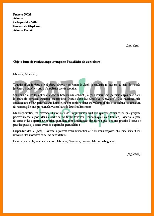 lettre de motivation surveillant d u0026 39  u00e9cole