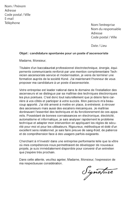 lettre de motivation spontan u00e9e technicien de maintenance