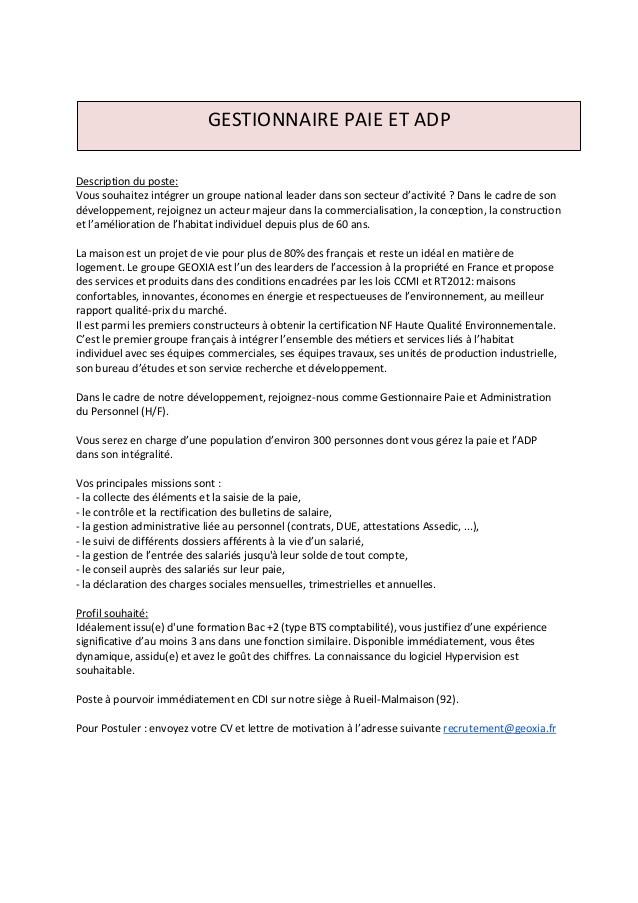 lettre de motivation gestionnaire du personnel