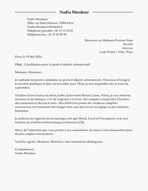 lettre de motivation titularisation adjoint administratif