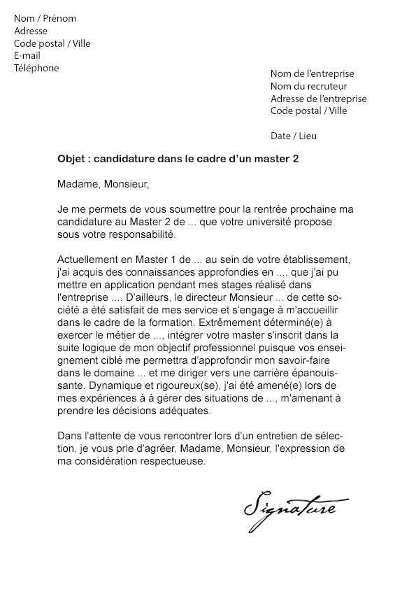 Exemple de lettre de motivation pour fac