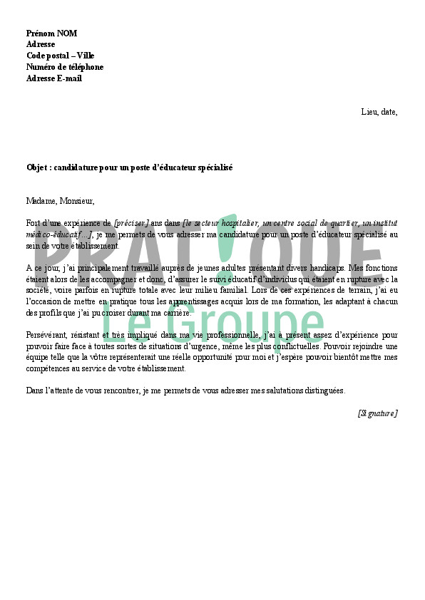 lettre de motivation esat exemple