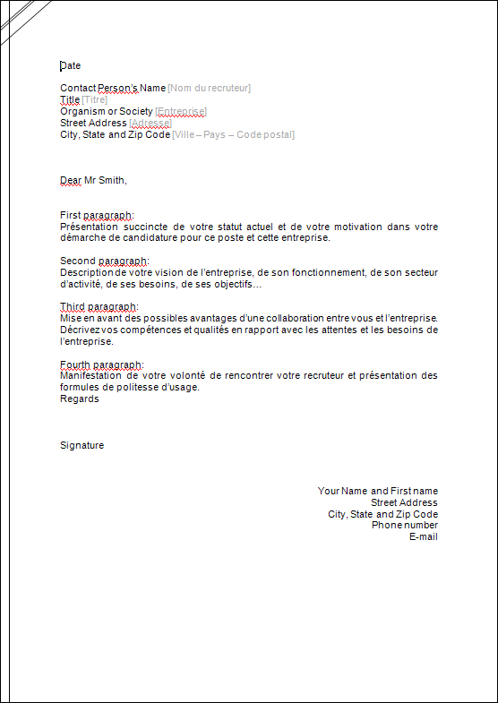 exemplaire de lettre de motivation en anglais