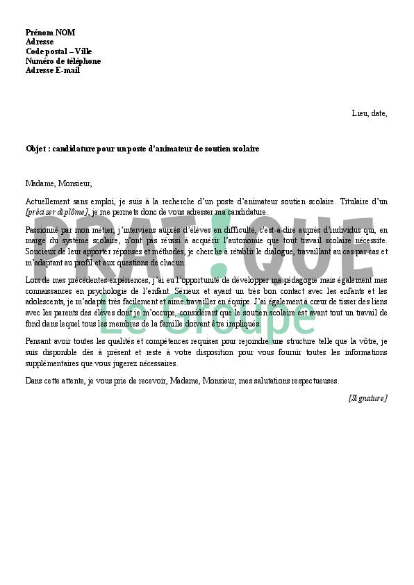 lettre de motivation pour animateur sans bafa
