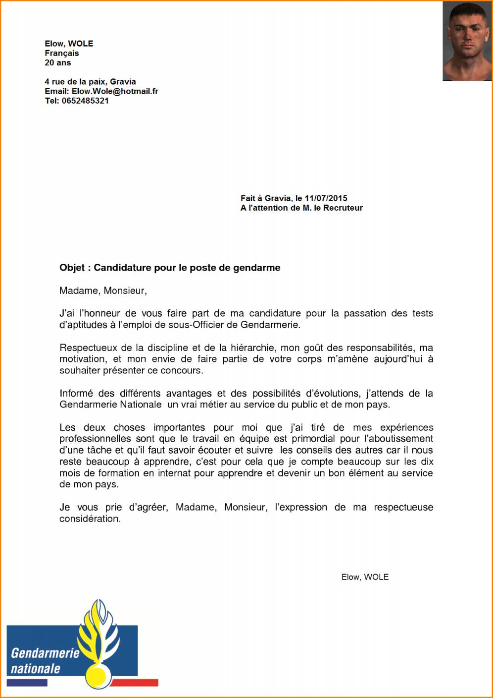 Lettre de motivation ecole sous officier
