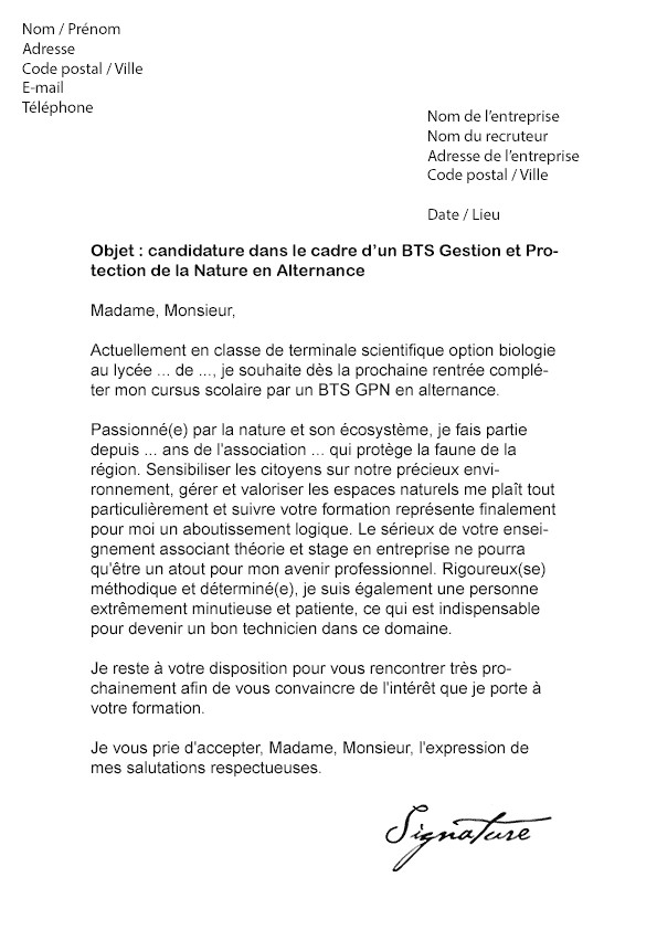 lettre de motivation bts service analyse de biologie