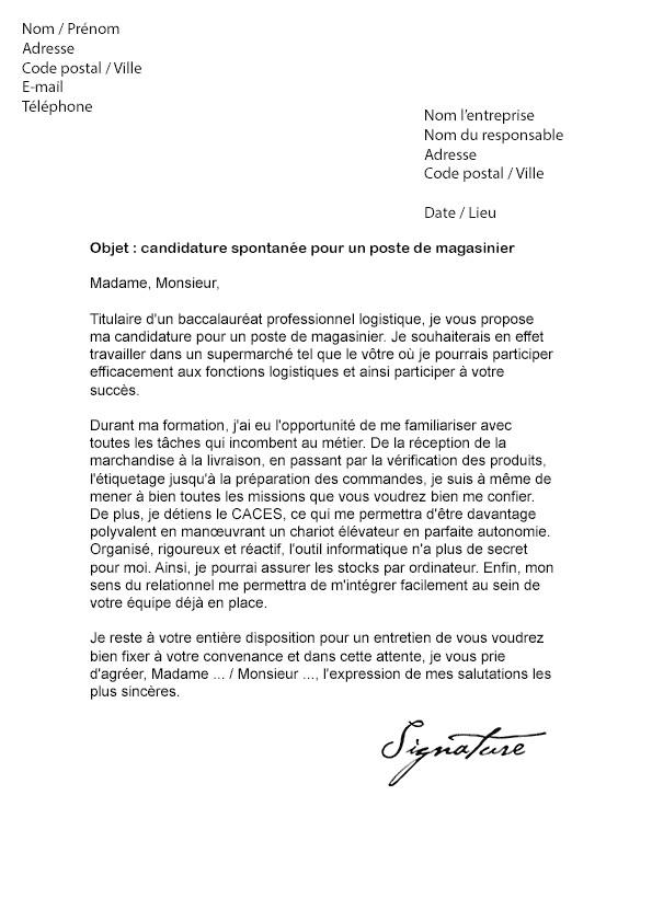 lettre de motivation cariste manutentionnaire