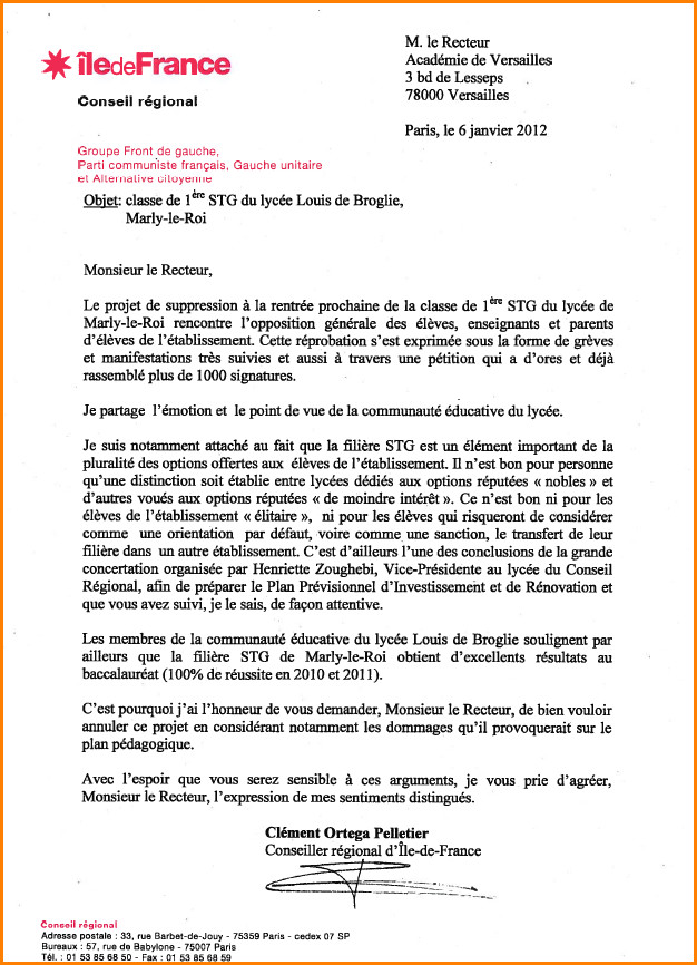 lettre de motivation changement de college