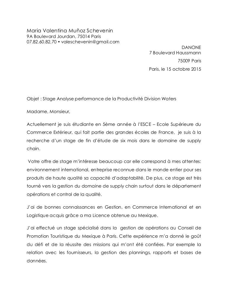 lettre de motivation ing u00e9nieur supply chain