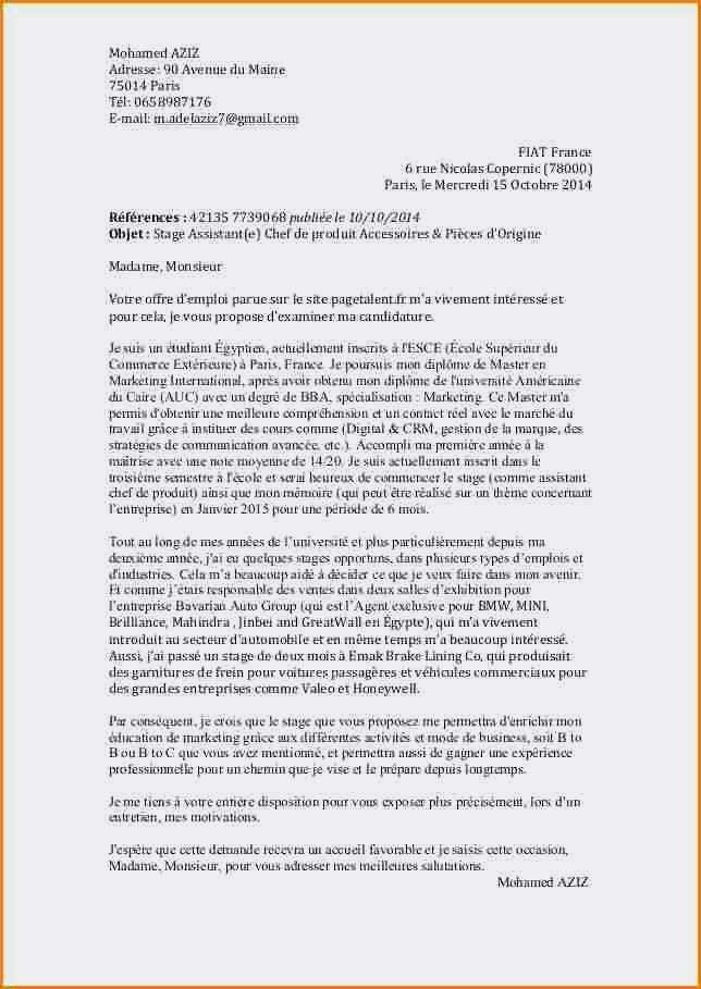 lettre de motivation master 2 cca