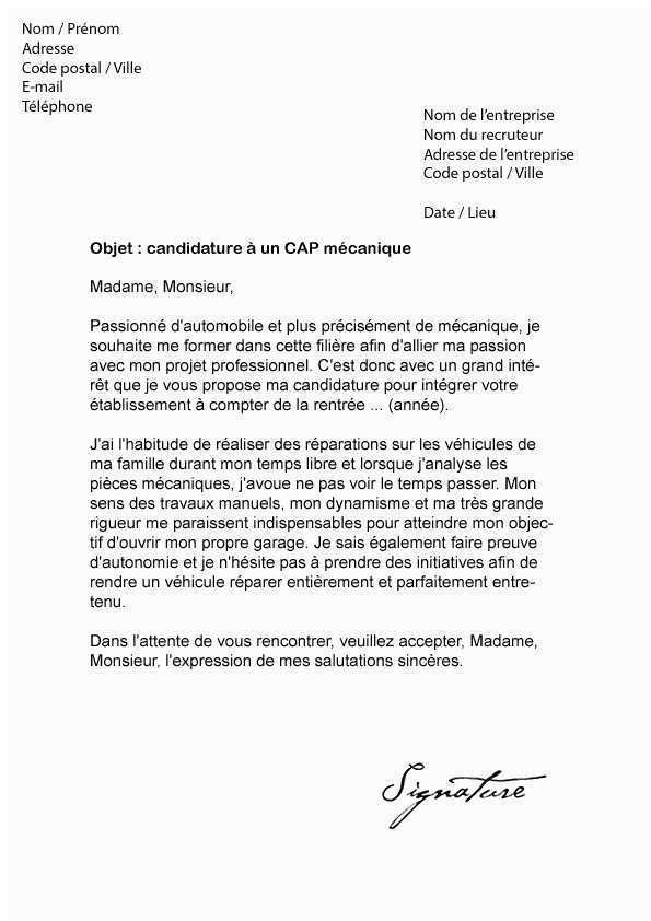 Exemple lettre de motivation mécanicien auto