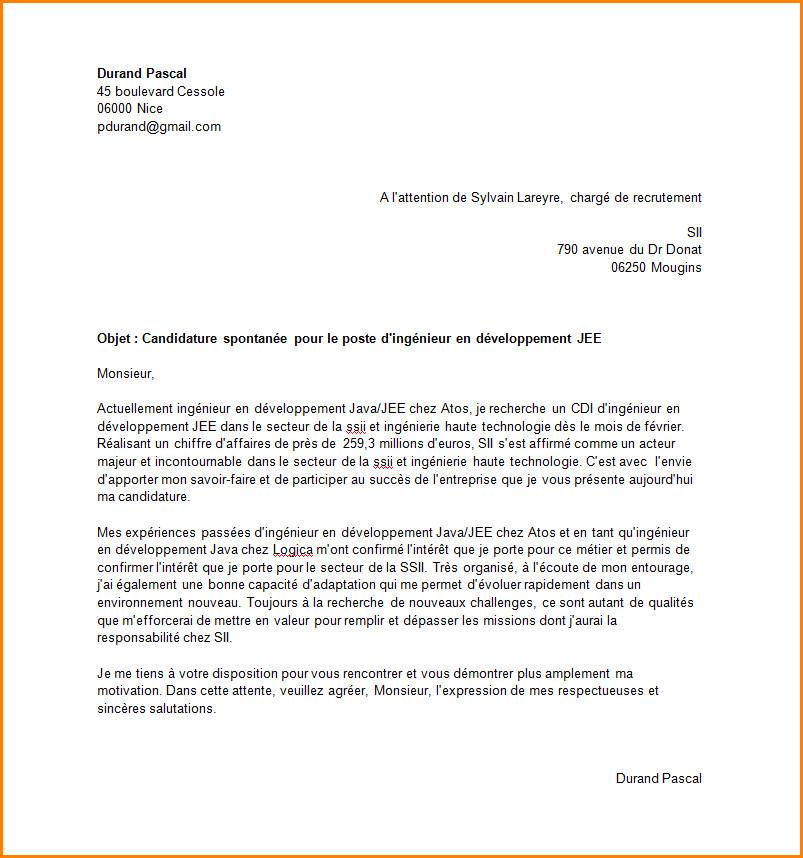 lettre de motivation candidature spontan u00e9e employ u00e9 libre