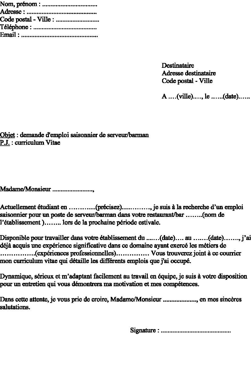 lettre de motivation offre d u0026 39 emploie
