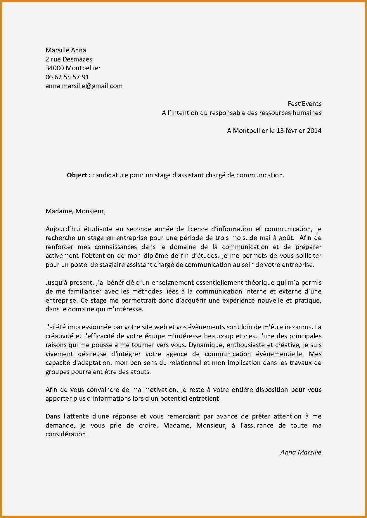 lettre de motivation stage assistant ing u00e9nieur