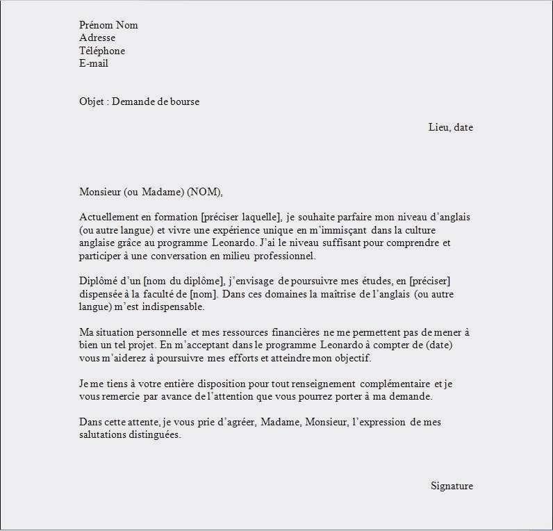 exemple lettre de motivation stage en anglais
