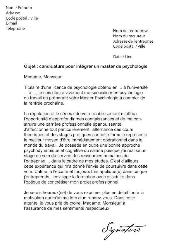 lettre de motivation cmp psychologue