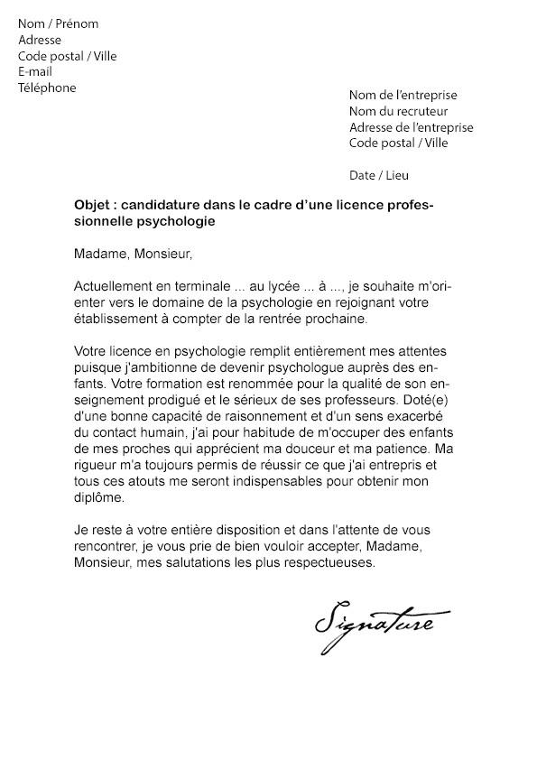 lettre de motivation licence pro entrepreneuriat