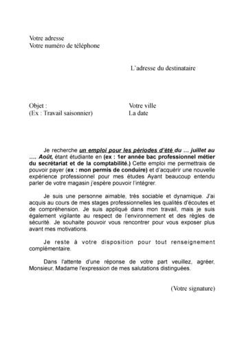 Lettre de motivation gratuite vendeuse en pret a porter