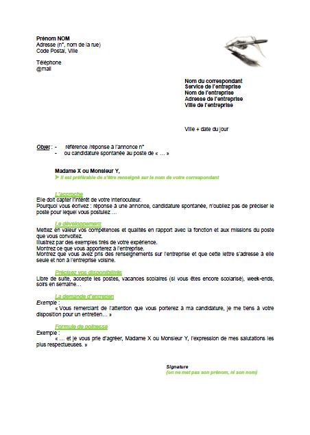 Lettre de motivation modele pdf